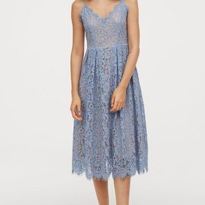 H&M Light Blue Lace Midi Dress